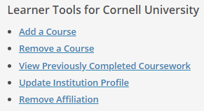 Learner tools for Cornell University with add a course circled to show user what to click