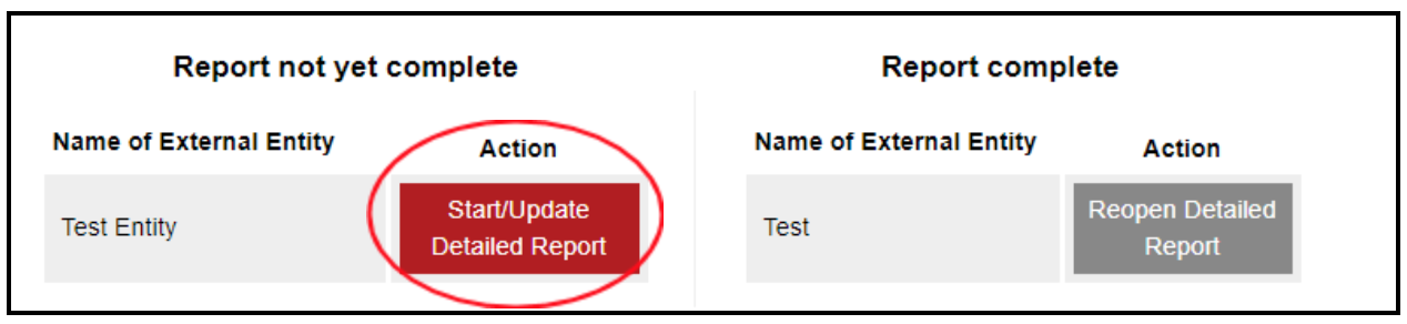 "Image of ""start/update detailed report"" button circled."