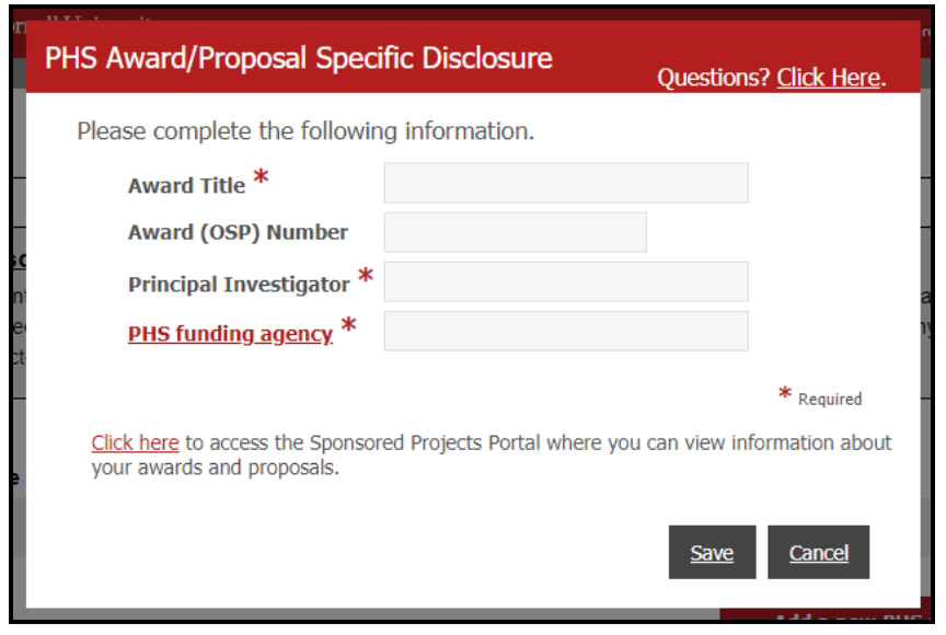 "Image of ""PHS Award/Proposal Specific Disclosure"" Form"