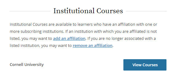 A picture of the view courses button on the CITI website.